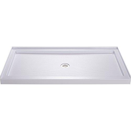 - DreamLine SlimLine 36 in. D x 60 in. W x 2 3/4 in. H Center Drain Single Threshold Shower Base in White