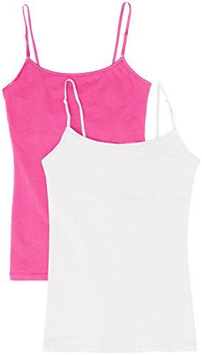 Women's Camisole Built-in Shelf Bra Adjustable Spaghetti Straps Tank Top Pack 2 Pk White   Fuschia Large