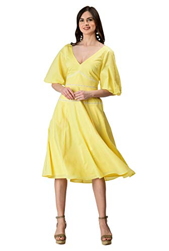 eShakti FX Dramatic Statement Sleeve Cotton Voile Dress S-6 Canary ()