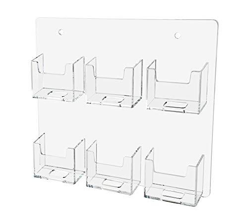 Marketing Holders Gift Card Rack Wall Mountable Vertical 6 Pocket Business Card Holder Durable Acrylic Multi Pocket Display
