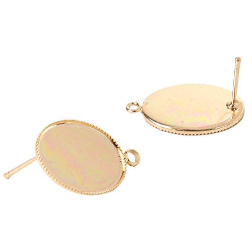 (JETEHO 50 Pieces Oval Earring Studs Ear Pin Ball Post Earring Stud Loop Post for Earring Making Findings )