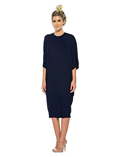 [Tabeez Women's Oversized Jersey Shift Loose Midi Dress with Kimono Sleeves (Large, Navy High Neck)] (Cheap Plus Size Fancy Dress)