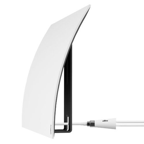 Hdtv Indoor Antenna Amplified (Mohu Curve 50 TV Antenna, Indoor, Amplified, 50 Mile Range, Modern Design, Tabletop, Paintable, 4K-Ready HDTV, 16 Foot Detachable Cable, Premium Materials for Performance, Includes Stand, MH-110603)
