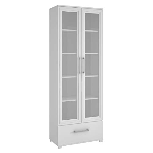 (BS Barrister Bookcase White with Glass Doors Bookshelf Wooden Cabinet Display 5 Shelves 1 Drawer Standard Bookcase Home Office Lawyers Accent Cabinet Free Standing Organizer Furniture)