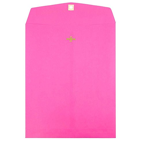 JAM PAPER 10 x 13 Open End Catalog Colored Envelopes with Clasp Closure - Ultra Fuchsia Pink - 100/Pack