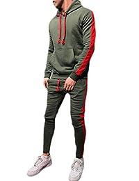 Wofupowga-CA Mens Hooded Sportwear Sweatshirt Pants Color Block Outfits Tracksuit Set