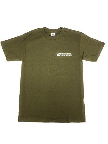 USPS Post Office Military Olive Green T-Shirt Postal Logo ON Front & Back
