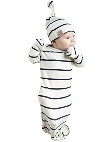 Striped Gown - COLOOM Infant Baby Gown Newborn Knotted Sleeper Striped Sleep Sacks Gowns Swaddle & Cap