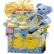 Sweet Baby Rubber Ducky Bath Time Gift Basket for Boys or Girls