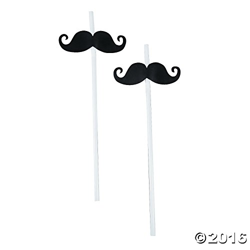Fun Express Mustache Party Straws - 72 Piece Bulk Pack