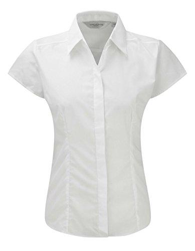 Russell Collection à manches Cap pour femme-T-Shirt en popeline pour homme Entretien facile -  Blanc - XXL
