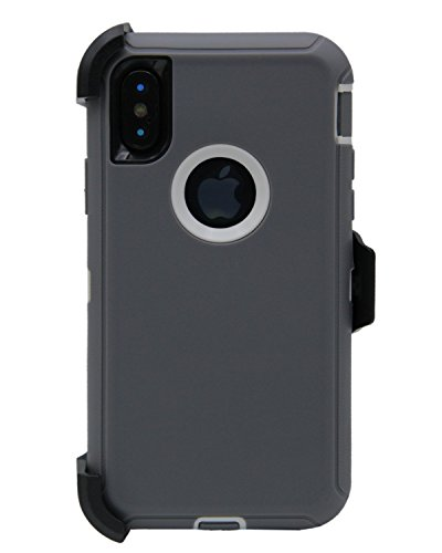 WallSkiN Turtle Series Cases for iPhone Xs/iPhone X (Only) Tough Protection with Kickstand & Holster - Passion (Grey/White)