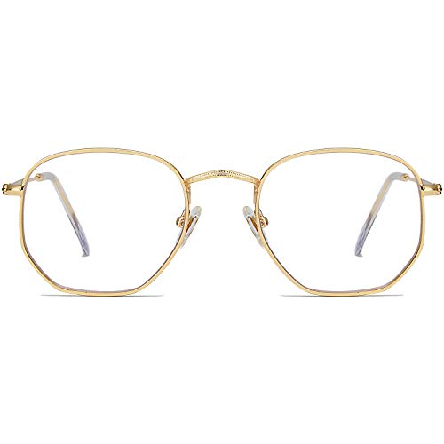 SOJOS Blue Light Blocking Glasses Hexagonal Eyeglasses Frame Anti Blue Ray Computer Game Glasses One and Only SJ5036 with Gold Frame/Anti-blue Light Lens