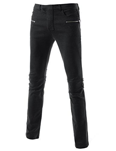 (TLP32) Casual Slim Fit Stylish Point Design Stretchy Twill Cotton Chinos Pants BLACK 35W/32L(Tag size 2XL) (Washed Down Chino Pants)