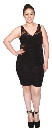 Libian Jr Plus Size Ruched Yoke Laced Mini Dress (1X, Black)