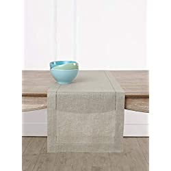 Solino Home Hemstitch Linen Table Runner - 14 x 120 Inch, Handcrafted from European Flax, Machine Washable Classic Hemstitch - Natural