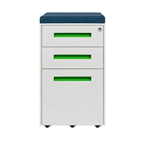 - STOCKPILE Seated 3-Drawer Mobile File Cabinet with Removable Magnetic Cushion Seat, Commercial-Grade, Pre-Assembled (White/Green with Blue Cushion)