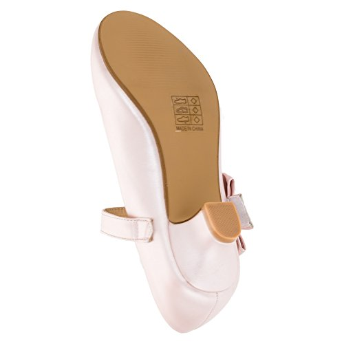 Max Shoes Festliche Mädchen Pumps High Heels mit Schleife und Klettverschluss #182rs Rosa