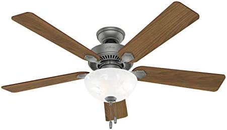 Hunter Swanson Indoor Ceiling Fan with LED Lights and Pull Chain Control, 52 , Matte Silver