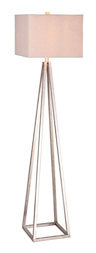 Catalina Lighting 20434-000 Modern 3-Way Metal Cage Floor Lamp with Natural Gray Linen Rectangular Shade, Classic, Antique Pewter