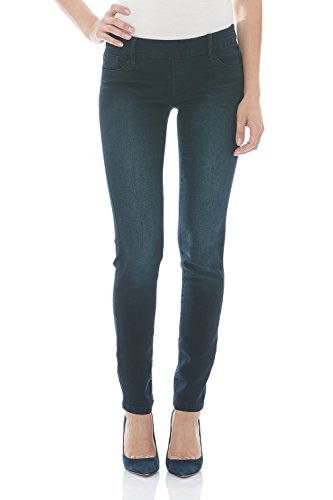 Suko Jeans Pull On Power Stretch Skinny Jeans for Women 16801 Blue Black (Curvy Size 2)