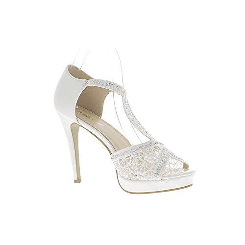 Sandali taglia pizzo bianco grande 12cm e potete camoscio tacco