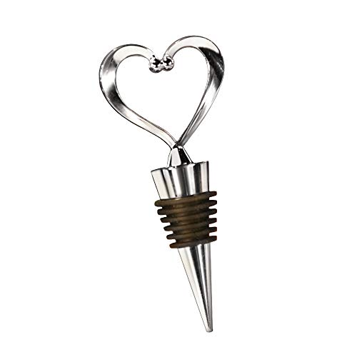 Fashioncraft Heart Wine Bottle Stopper, Decorative Beverage Cork Topper Saver, Metal with Reusable Rubber Plug, for Wedding Favors, Party, Baby Shower - Love Design Heart Shape - Chrome (24 Pack)