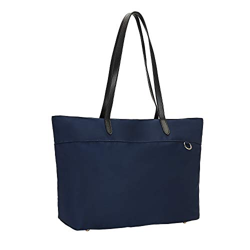 Nylon Shopping Tote Bag with Microfiber Leather Handles, Trolley Strap, Multiple Pockets and Key Clasp for Women (Navy Blue)