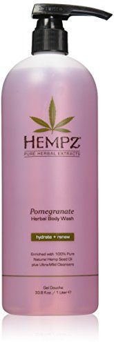 Hempz Herbal Body Wash, Light Pink, Pomegranate, 33.8 Fluid - Wash Moisturizing Body Herbal