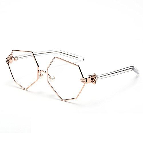 Lunettes Irrégulière Lunettes C Personnalité Nez Plat Couleur Miroir C Diamant Ovale Perle Amazing Soins Fwv5x1qdOF