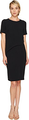 Escada Women's Davine Short Sleeve Tucked Dress Black 40