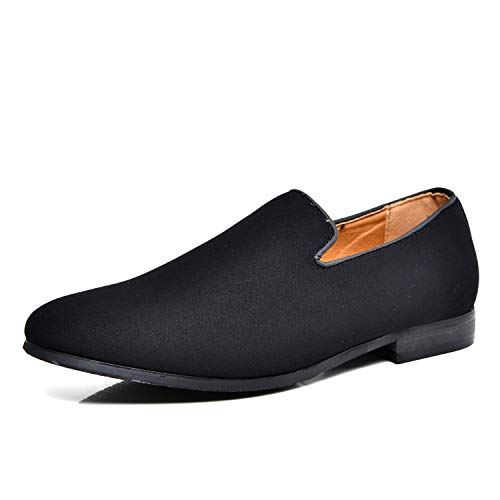 Men's Slip-on Loafers Dress Shoes PU Leather Noble Comfortable Pure Color Fashion Driving Boat Moccasins Black ()