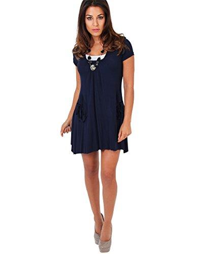 Marineblau Robe Collier Tunique Bleu KRISP Haut avec Femmes et 2 3984 Manches pour Courtes 7qwg5U54