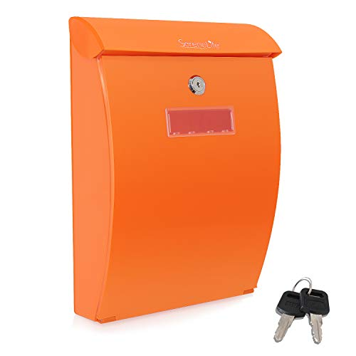 Modern Wall Mount Locking Mailbox - Indoor Outdoor Universal Vertical Mounted Mail box - ABS Plastic Large Capacity Home / Office Business Drop Slot with Secure Lock Keys - Serenelife SLMAB35 (Orange)