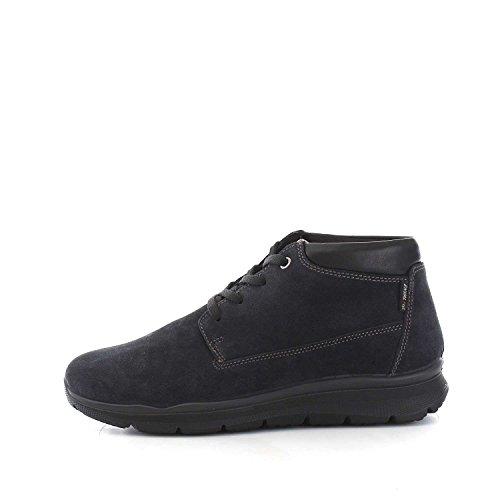 ENVAL SOFT 89091/00 polacchini scarpe uomo pelle blu notte scamosciato con memory foam