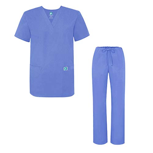Adar Universal Medical Scrubs Set Medical Uniforms - Unisex Fit - 701 - CBL - M Ceil Blue