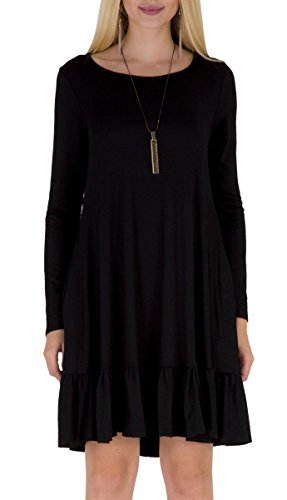 (Women's Cotton Warm Draped Loose Swing Flattering Dress Top Black XL)