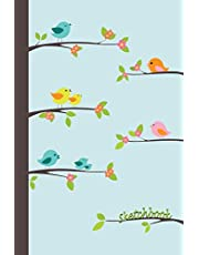 Sketchbook: Singing Birds 6x9 - BLANK JOURNAL WITH NO LINES - Journal notebook with unlined pages for drawing and writing on blank paper