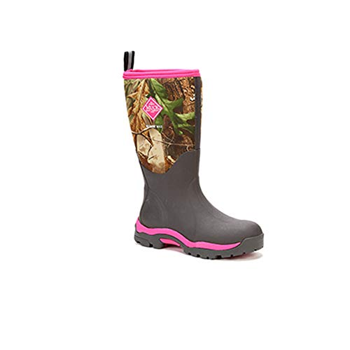 (Muck Woody PK Rubber Women's Hunting Boots,Bark, Realtree XTRA/Hot Pink,8 US/8-8.5 M US)