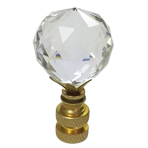 (Royal Designs Flat Teardrop Shaped K9 Clear Crystal Lamp Finial for Lamp Shade with Polished Brass B Single)