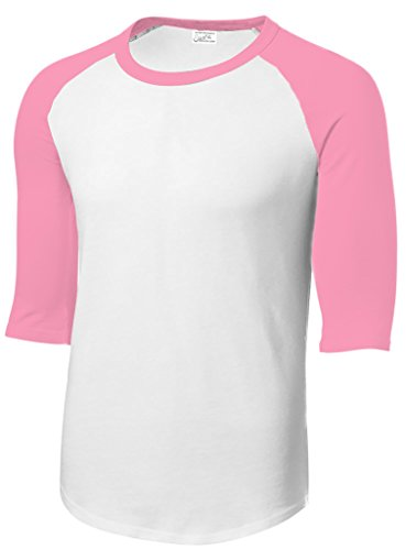 (Joe's USA Mens 3/4 Sleeve 100% Cotton Baseball Tee Shirt,XL White/Pink)