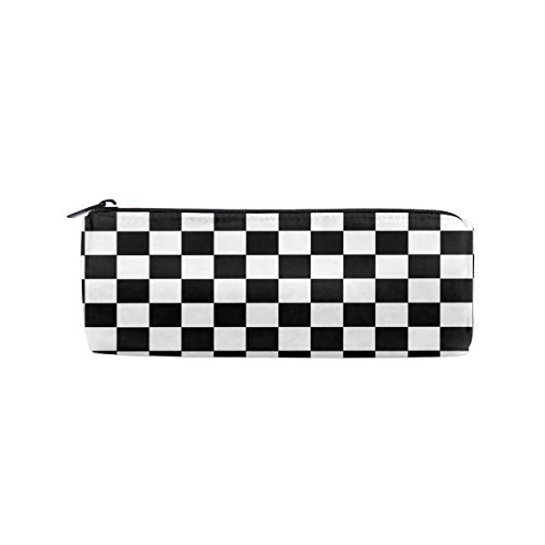 Black White Checkerboard Pencil Case Cylinder Pen Case Zippers Pen Bag Office Stationery Bag Cosmetic Bag for Kids Girls Boys and Adults