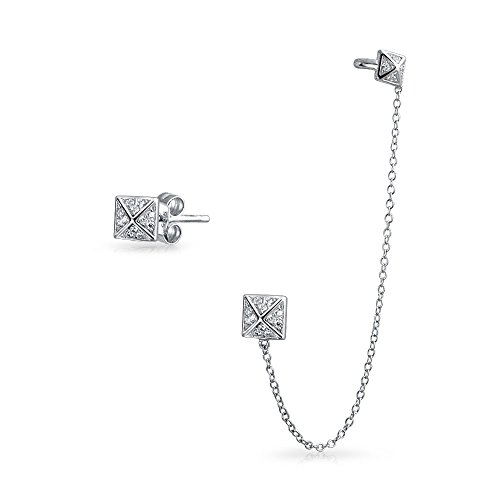 Geometric Square Pyramid Chain Cartilage Ear Cuff Wrap Earring Pave CZ Stud Helix Earring Stud Set 925 Sterling Silver