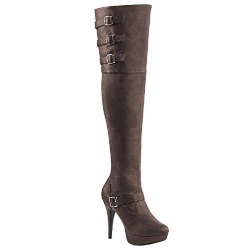 Pink Label Extra weite Overknee Stiefel Chloe-308 braun Übergröße Braun