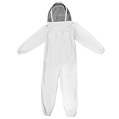 Feamos Safe Protective Equipment Full Beekeeping Suit Bee Suit Heavy Duty Ventilated Keeping Veil Hood XXL White