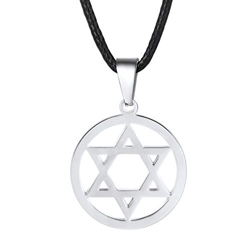 PROSTEEL Jewish Magen Star of David Necklace Men Women Bat Mitzvah Gift Israel Jewelry Hanukkah Stainless Steel Pendant Black Leather ()