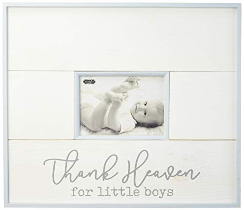 Mud Pie White Washed Planked Wood Thank Heaven for Little Boys Frame 5