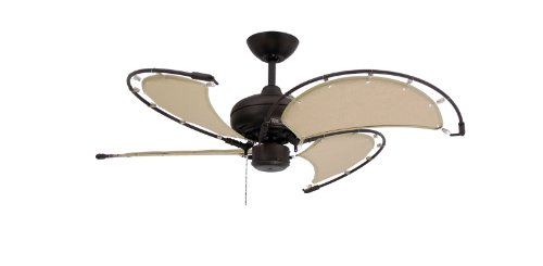 TroposAir Voyage Oil Rubbed Bronze Indoor Outdoor Ceiling Fan with Khaki Fabric Blade