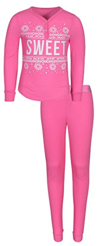 'dELiAs Girls Henley Thermal Pajama Set, Pink Sweet, Size 7/8'