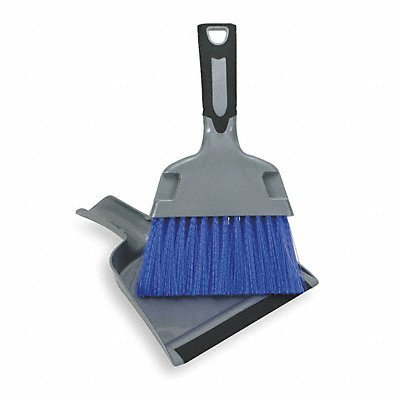Tough Guy 2ZPC5 Mini Dust Pan With Brush, Silver And Blue